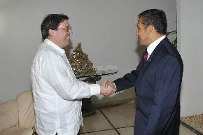 Jefe del Estado, Ollanta Humala, en su encuentro con el canciller cubano Bruno Rodríguez. ANDINA/Prensa Presidencia