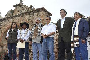 Jefe del Estado, Ollanta Humala, junto a ministros de Estado, inauguró obras de saneamiento urbano en Sibayo, región Arequipa.