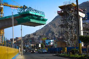 Construcción del viaducto elevado de la Línea 1 del Metro de Lima-Puente Malecón Checa. Foto: Consorcio Metro de Lima.
