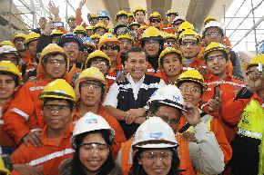 Presidente Ollanta Humala supervisó conclusión de trabajos del Metro de Lima en puentes Rímac y Huáscar, en San Juan de Lurigancho. Foto: ANDINA/Prensa Presidencia.