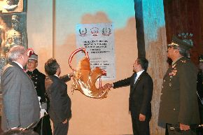 El Presidente de la República, Ollanta Humala Tasso, acompañado del premier Juan Jiménez, participó esta noche en la inauguración del nuevo auditorio de la Escuela Militar de Chorrillos. ANDINA/Prensa Presidencia