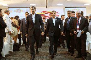 Al finalizar la VII reunión del Gabinete Binacional de ministros de Perú y Ecuador, el presidente Ollanta Humala junto al Primer Ministro César Villanueva, despidieron al presidente ecuatoriano Rafael Correa en el Grupo Aéreo N° 7. ANDINA/Prensa Presidencia