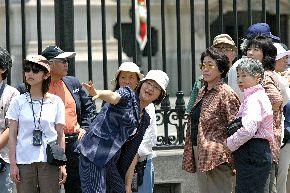Asian tourists visiting Peru