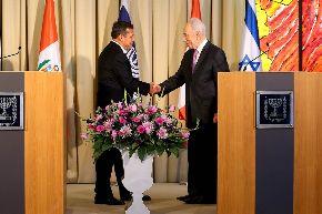 Peruvian President Ollanta Humala Tasso met with his Israeli counterpart Shimon Perez. Photo: ANDINA/Presidencia