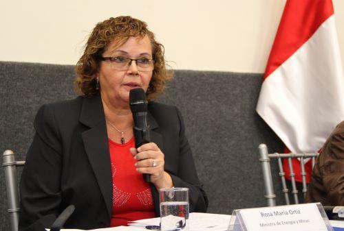 Rosa María Ortíz Ministra de Energía y Minas. ANDINA/Difusión