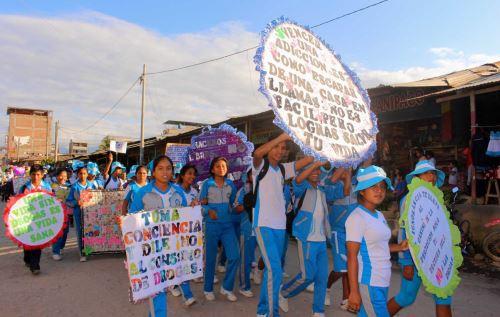 Escolares de Satipo y Chanchamayo participaron en actividades contra el consumo de drogas. ANDINA
