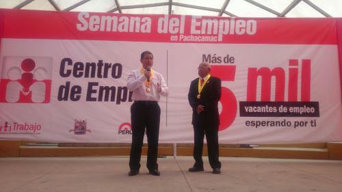 El ministro de Trabajo Daniel Maurate clausuró la Semana del Empleo, en el distrito de Pachacámac.