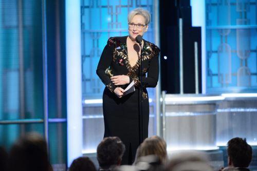 Meryl Streep da un discurso durante los Globos de Oro