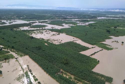 Lluvias intensas y desborde de ríos causaron cuantiosos daños en la agricultura.