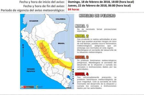 Pronostican incremento de lluvias en 11 regiones del país