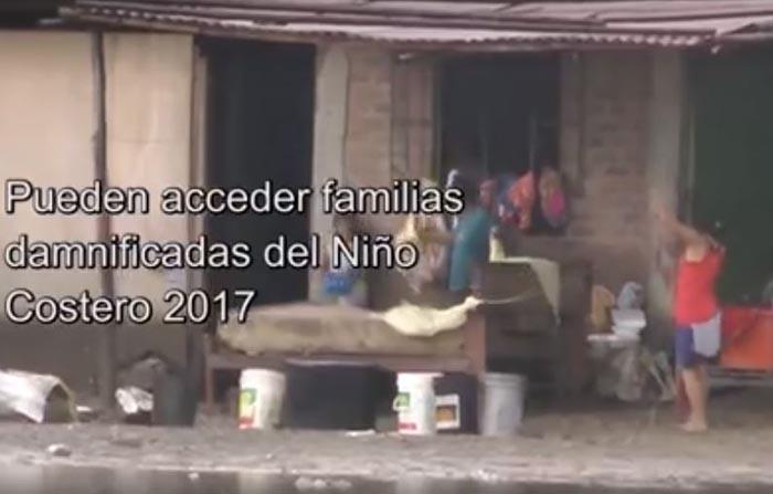 Hasta el 28 de febrero hay plazo para inscribirse al Bono 500 para familias afectadas por el niño costero 2017 que no han recibido el Módulo Temporal de Vivienda, Bono Familiar Habitacional o una Vivi