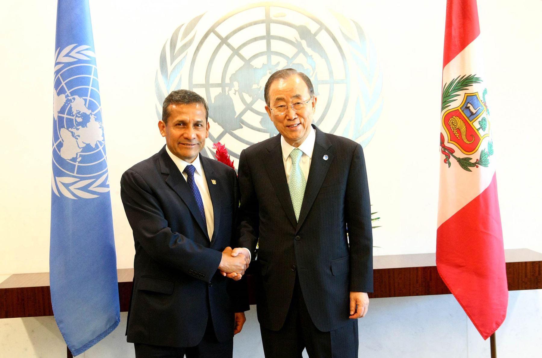 NUEVA YORK EE UU, SETIEMBRE 23. Secretario General de las Naciones Unidas, Ban Ki Moon, y presidente Ollanta Humala Tasso sostuvieron encuentro en Nueva York: ANDINA/Prensa Presidencia