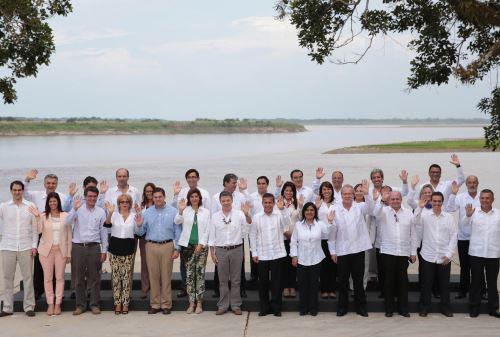 IQUITOS,PERÚ-SETIEMBRE 30.Foto Oficial del Encuentro Presidencial y I Gabinete Binacional Perú-Colombia en Iquitos.Foto: ANDINA/Prensa Presidencia