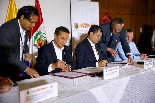 Declaración Conjunta de los Presidentes del Perú y del Ecuador y una ceremonia de suscripción de acuerdos se realizó en el marco de la VIII Reunión del Gabinete Binacional de Ministros Perú – Ecuador.Foto: ANDINA/Prensa Presidencia
