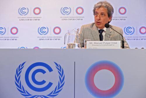 LIMA,PERÚ-DICIEMBRE 08.Conferencia de Prensa del presidente de la COP20, Manuel Pulgar-Vidal. Foto:ANDINA/Oscar Farje Gomero.