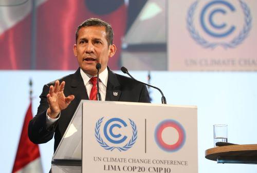 LIMA,PERÚ-DICIEMBRE 11.El Presidente Ollanta Humala participa en la reunión de Segmento de alto Nivel en la COP20.Foto: ANDINA/Oscar Farje Gomero.