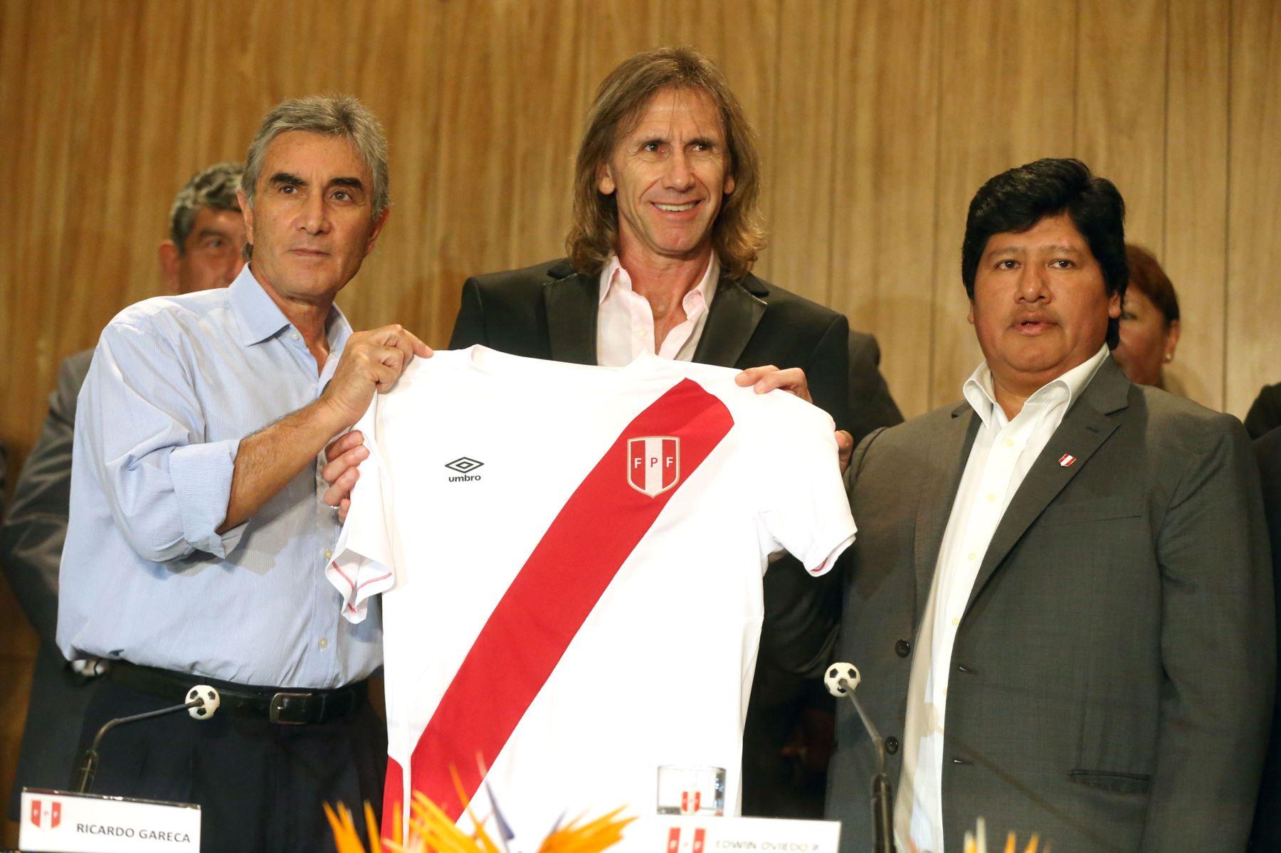 LIMA,PERÚ-MARZO 02. Presentación de Ricardo Gareca nuevo director tecnico de la selección Peruana de fútbol.Foto: ANDINA/Vidal Tarqui