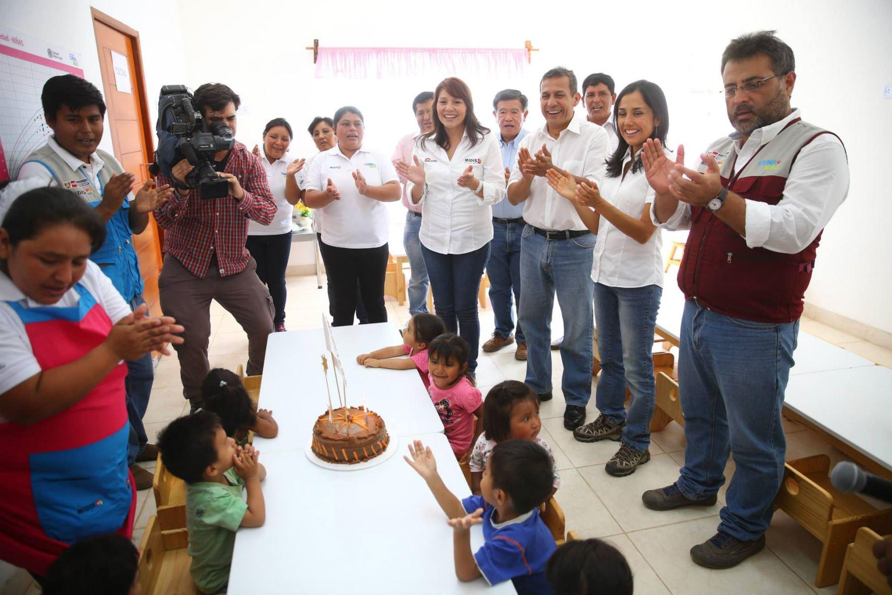 Presidente Humala participó en celebración del tercer aniversario del programa Cuna Más, en centro poblado de Pueblo Nuevo de Conta, distrito de Nuevo Imperial, provincia de Cañete, en Lima.