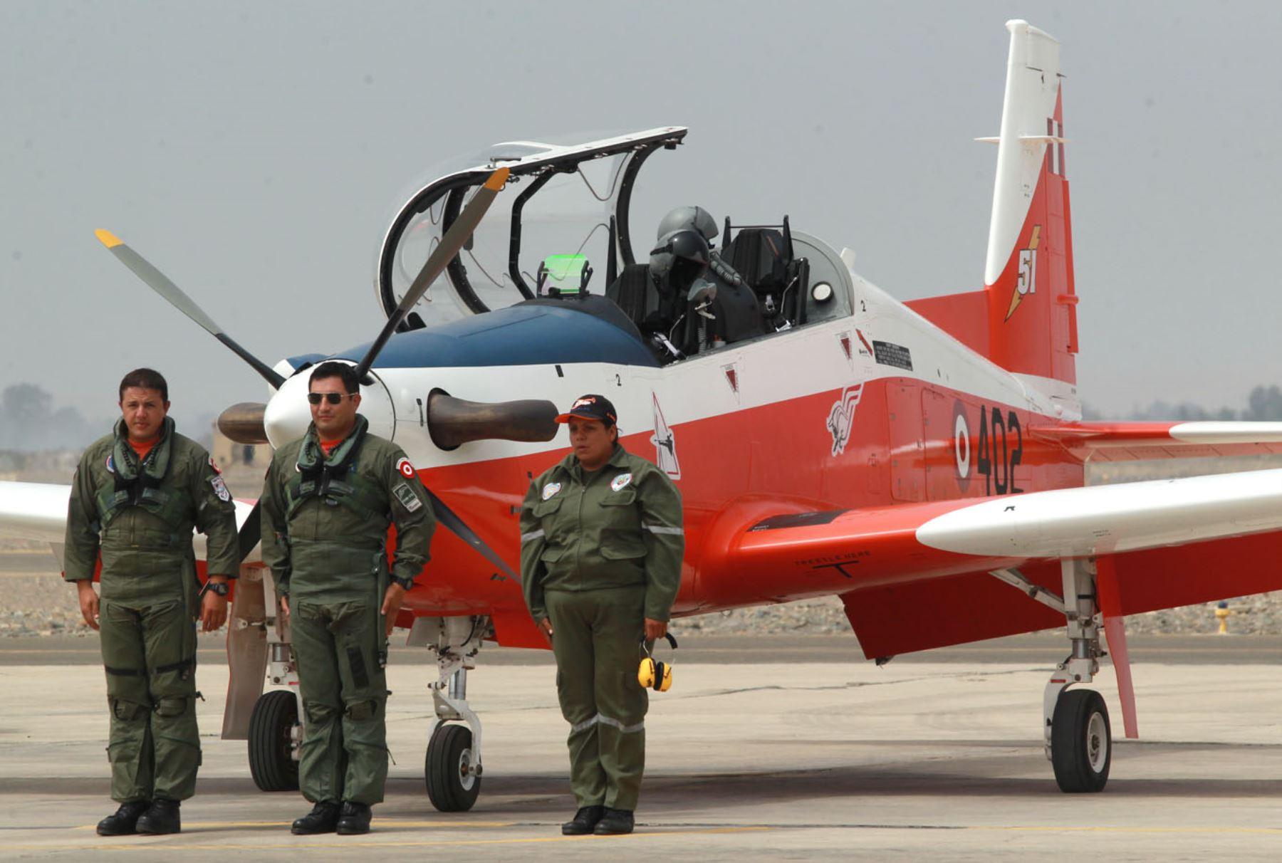 Aviones  de entrenamiento KT-1P  de la Fuerza Aérea. Foto: ANDINA/Melina Mejía