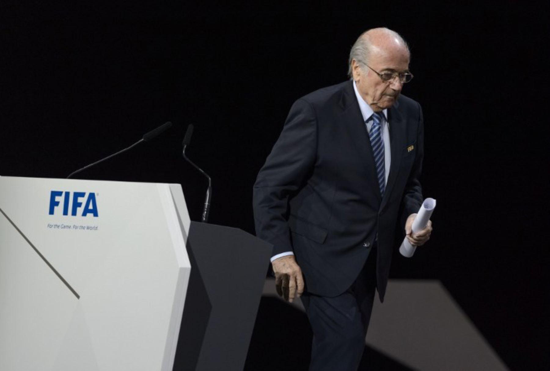 Presidente de la FIFA Joseph Blatter, en la votación por su reelección en el Hallen stadium de Zurich.Foto:AFP
