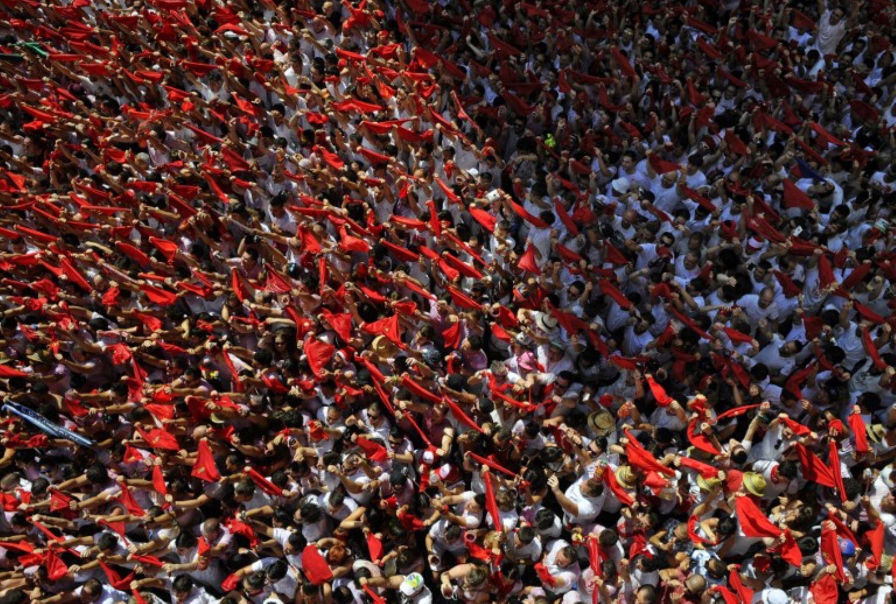 Pamplona empieza su tradicional festejo de San Fermín.Foto:AFP