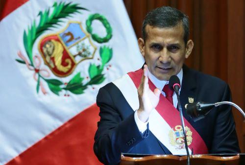 LIMA,PERÚ-JULIO 28.Presidente Ollanta Humala dirige Mensaje a la Nación por Fiestas Patrias.Foto: ANDINA/Carlos Lezama