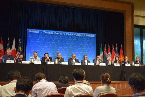 Ministros de Comercio Exterior reunidos tras reunión por acuerdo TPP. Foto: Mincetur.