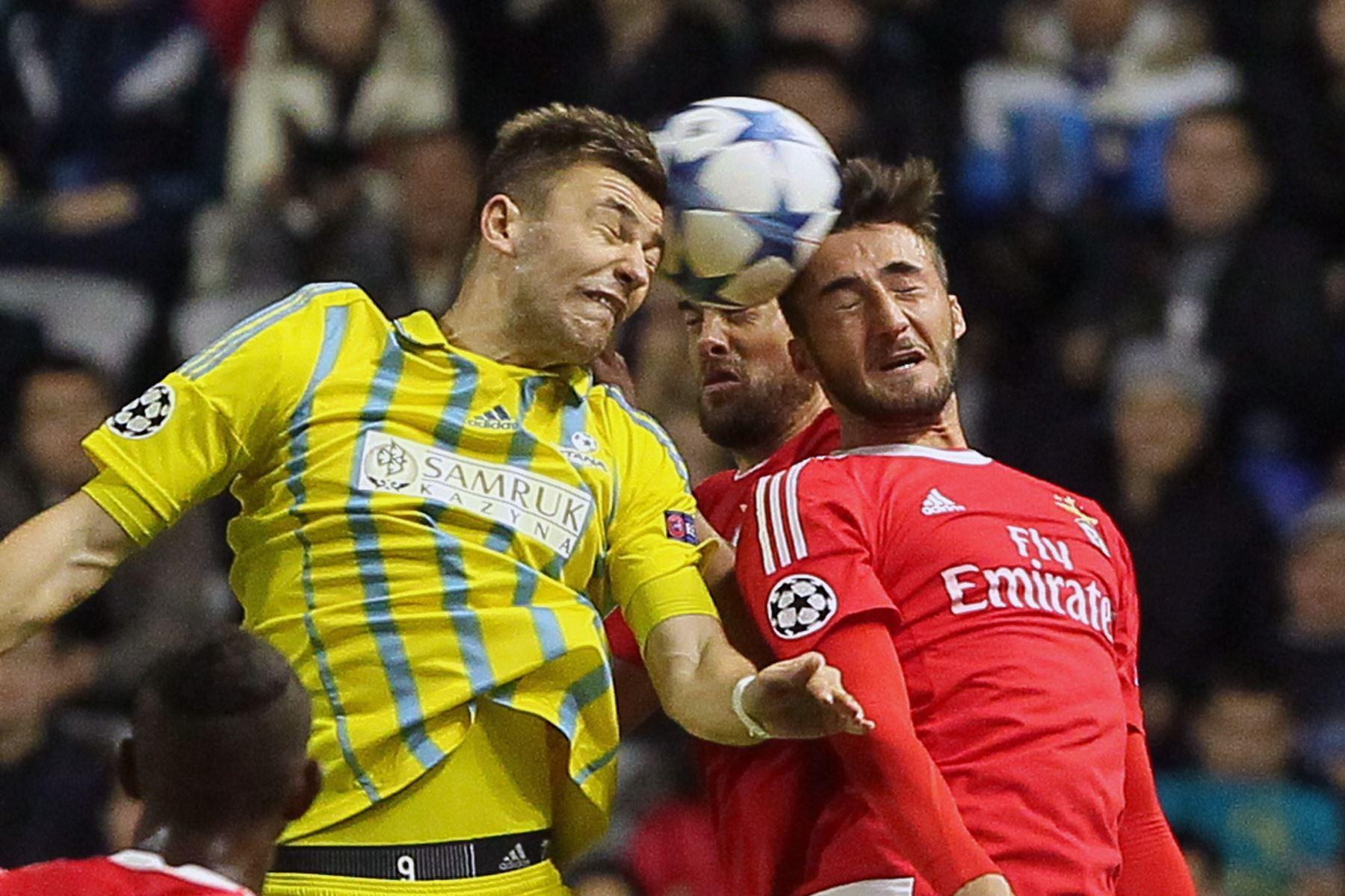 Benfica y Astana igualaron a dos goles por la Liga de Campeones. Foto: AFP