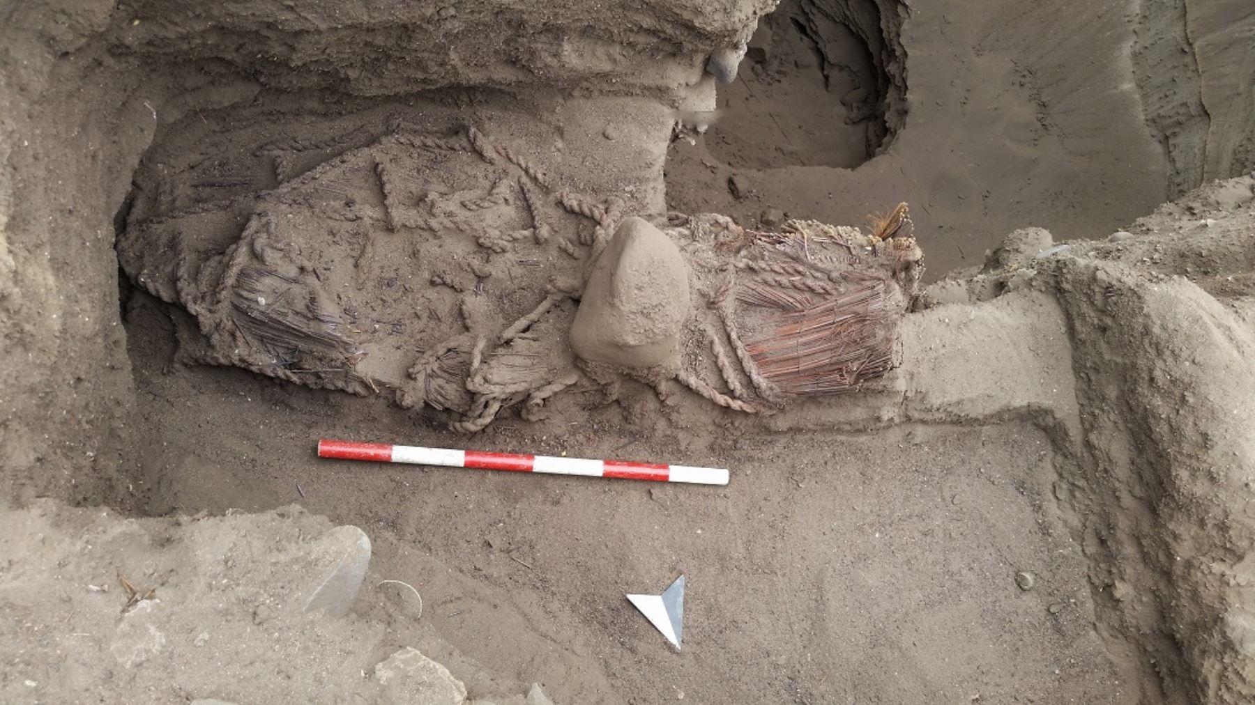 Descubren personaje femenino de élite enterrado hace más de 4,500 años en Áspero, ciudad pesquera de la civilización Caral.