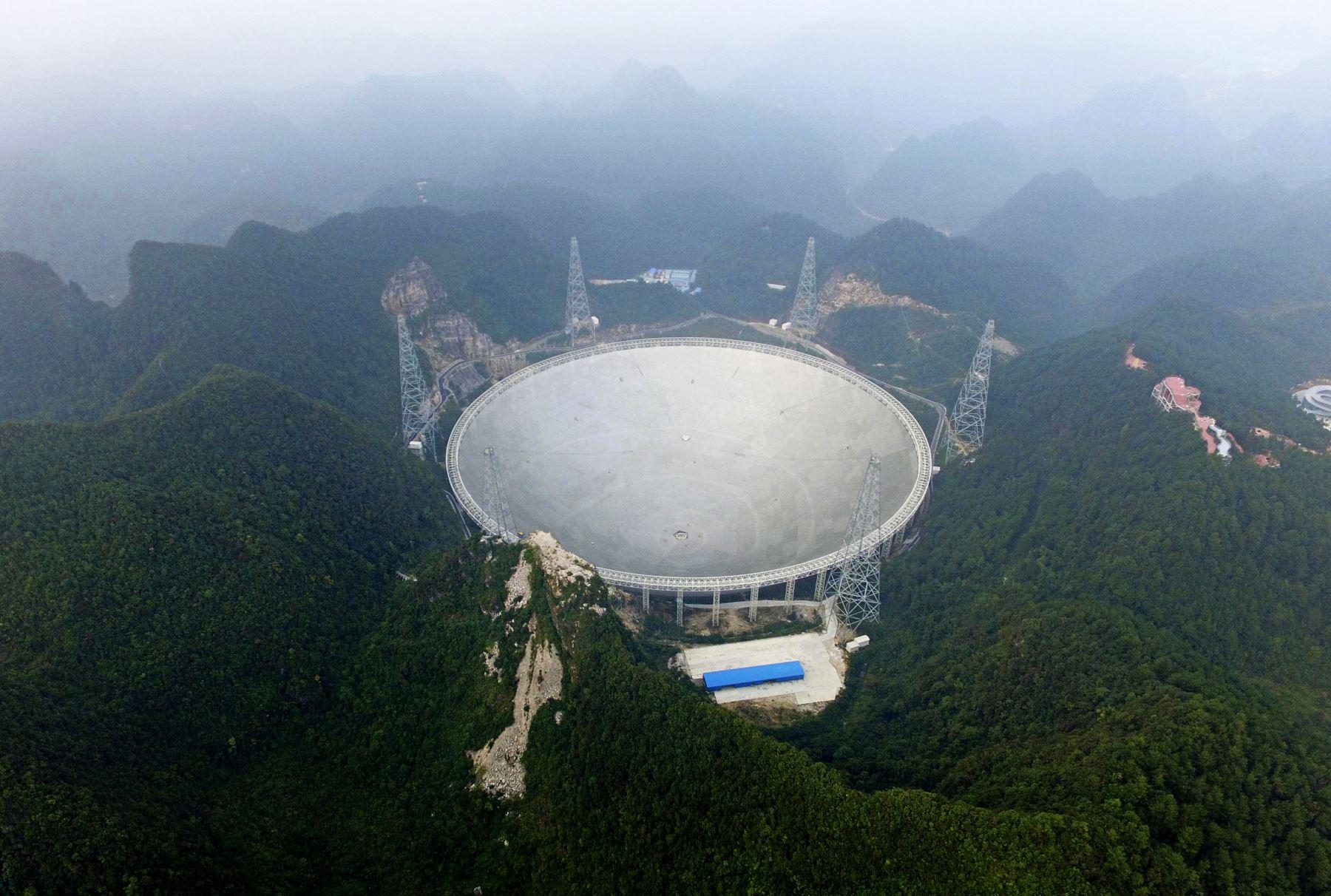 El mayor radiotelescopio del mundo conocido por sus siglas en inglés FAST, está situado en una zona montañosa del condado de Pingtang. Foto: AFP