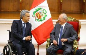 Presidente Pedro Pablo Kuczynski recibe al presidente electo de Ecuador, Lenin Moreno.