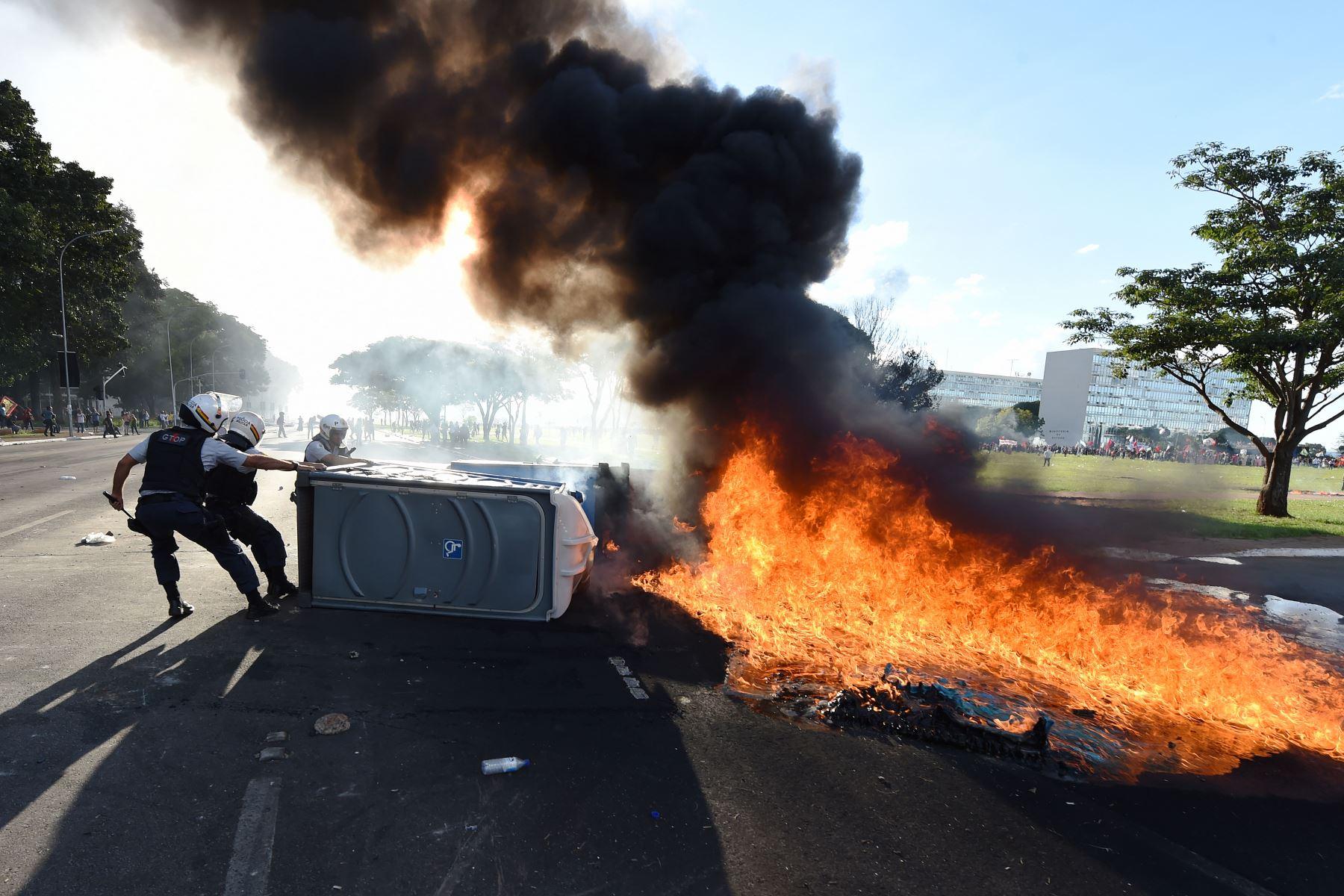 Protestas contra el gobierno del presidente de Brasil Michel Temer. Foto: AFP