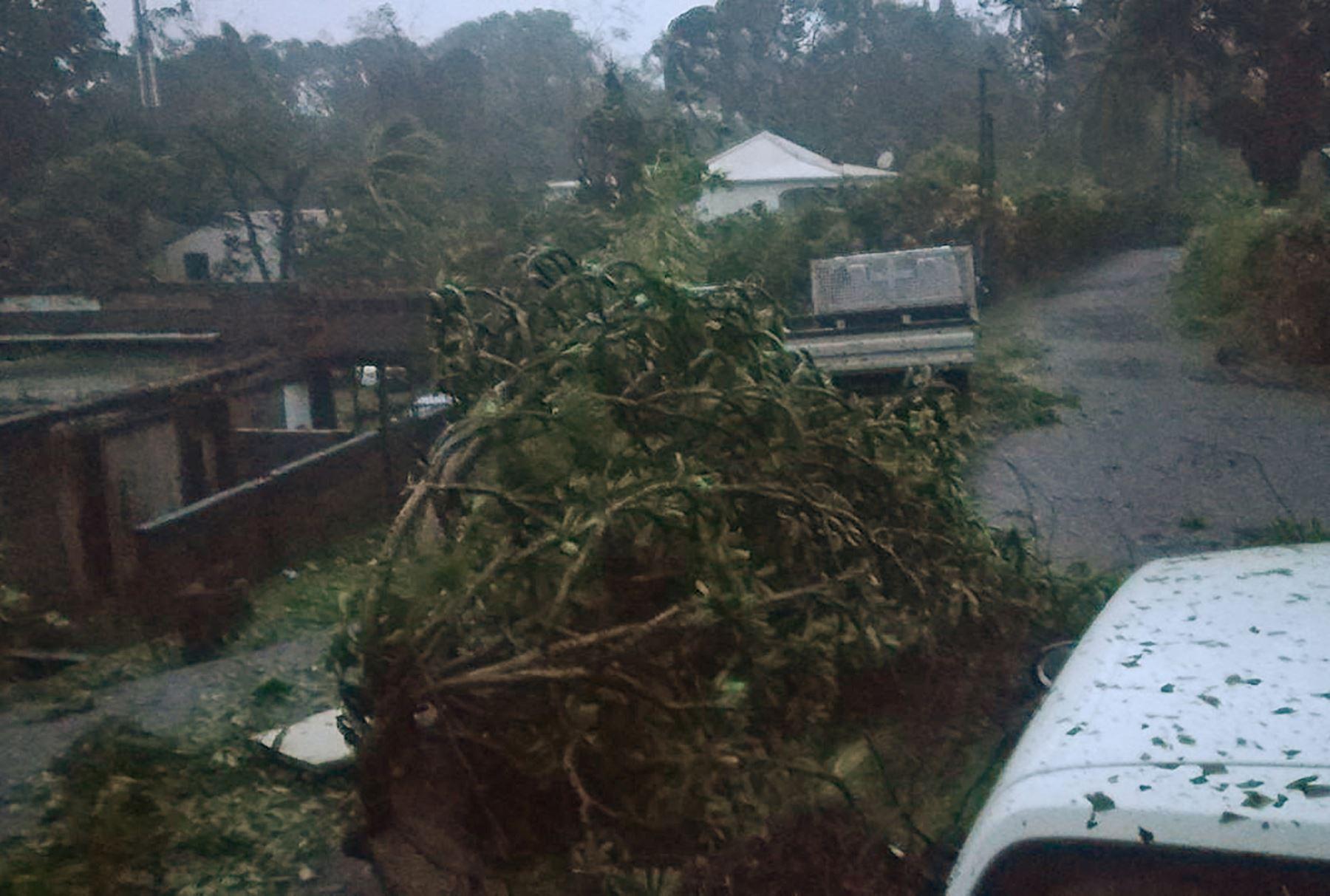 Fuertes vientos y lluvias del huracán María golpean la isla francesa de Guadalupe. Foto: AFP