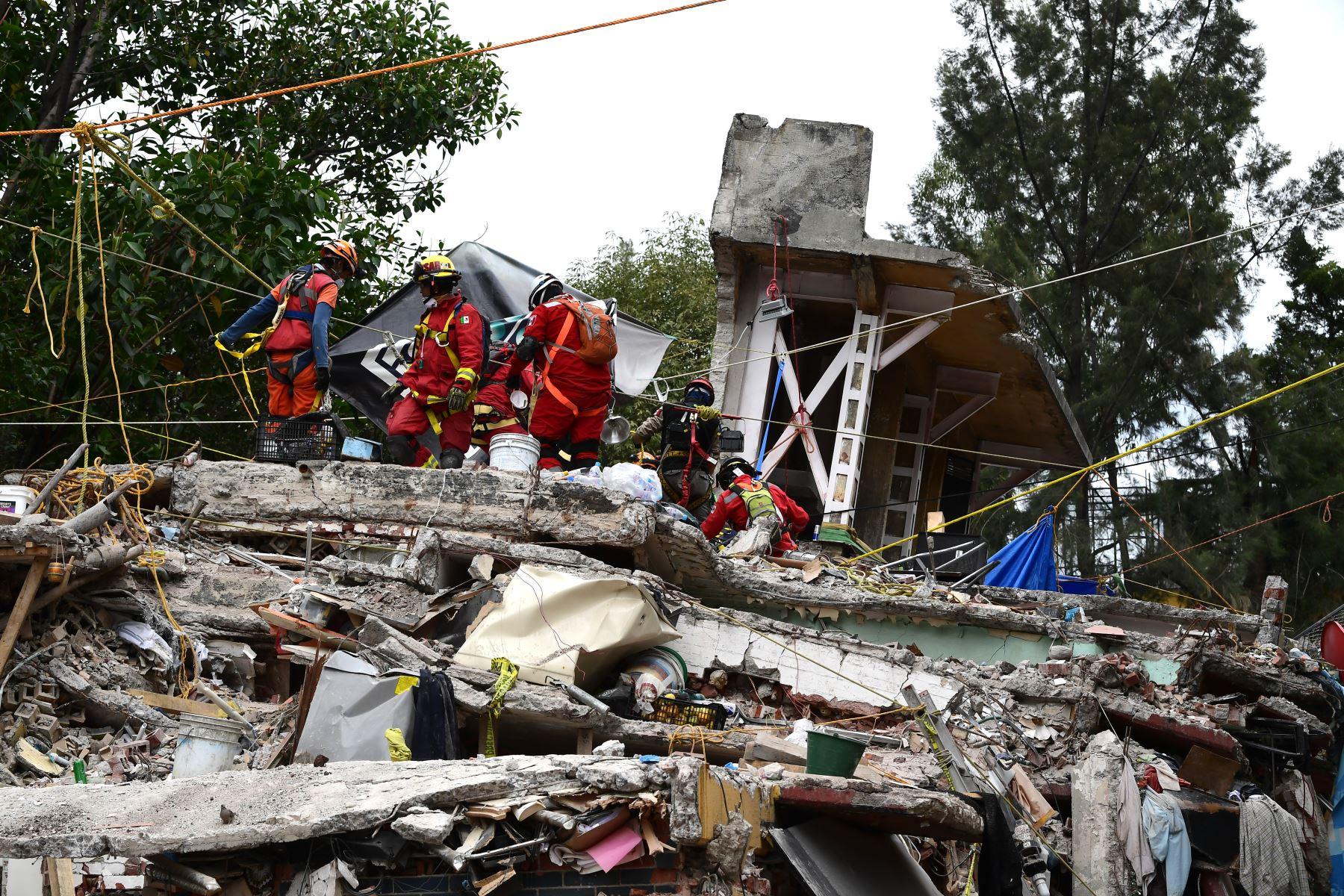 Los rescatistas buscan sobrevivientes en un edificio aplanado en la Ciudad de México Foto:AFP