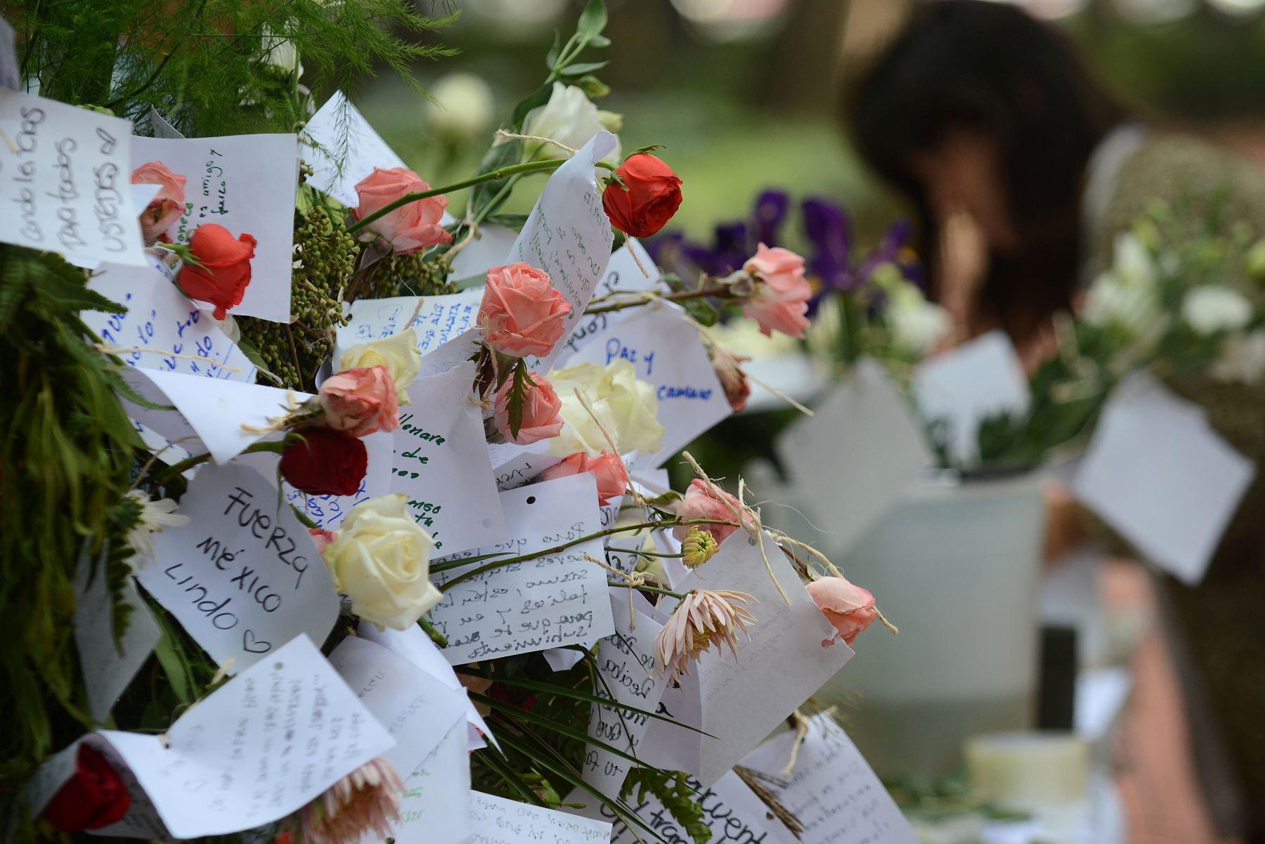 La gente comienza un monumento conmemorativo con flores en un parque frente a uno de los edificios derrumbados en la ciudad de México. Foto:AFP