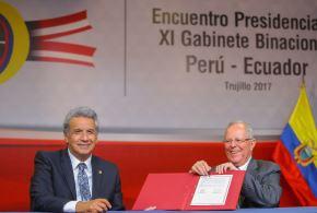 Mandatarios de Perú y Ecuador suscriben Declaración de Trujillo y Plan de Acción al finalizar Encuentro Presidencial y 11º Gabinete Binacional Perú - Ecuador. Foto: ANDINA/ Prensa Presidencia