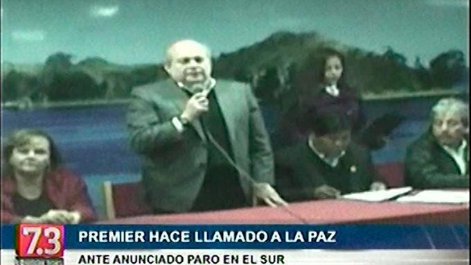 Primer ministro Cateriano hace llamado de paz en Arequipa