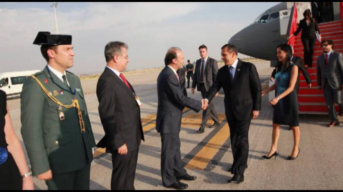 Imágenes de la llegada del presidente Humala a Madrid