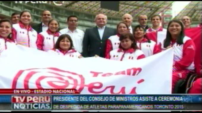 Pedro Cateriano asiste a ceremonia de despedida de atletas parapanamericanos Toronto 2015