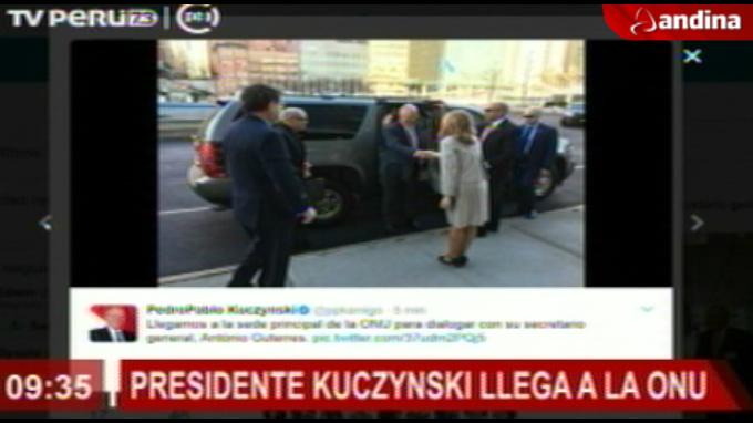 Presidente Kuczynski llega a sede de la ONU
